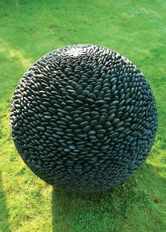 garden sphere in black stone David Haber