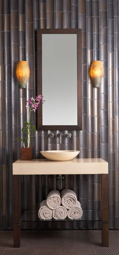 "ANN SACKS Gotham 3"" x 8"" and 4"" x 8"" bamboo ceramic field in new bronze luster, orlo mirror, marais teardrop sconce, spool concrete lavatory and spool console table top and base"