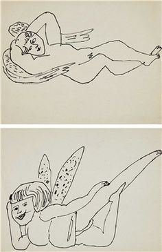 ANDY WARHOL (1928-1987) Angels two ink drawings on paper each: 8 ½ x 11 in. (21.6 x 27.9 cm.) Drawn circa 1954.