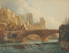 Thomas Girtin(1775ー1802 one of the founders of English watercolor painting)「Durham Cathedral and Castle」(c.1800)