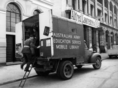 Australian Army Educational Mobile Library in Eagle Street, Brisbane, Queensland, ca. 1942.