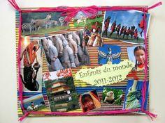 """Arts plastiques : découpage - collage autour du projet """"enfants du monde""""."""