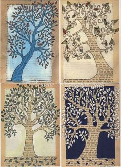 More negative space tree paintings
