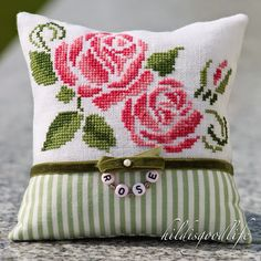 """""""Rosenblüten"""", Freebie by StickfeeDesign Linen: Zweigart Belfast white stitched with DMC as charted (unfortunately I can not post a link to this wonderful freebie)"""