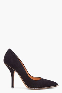 GIVENCHY Black Suede Zip Heels - Cool twist on a classic pump