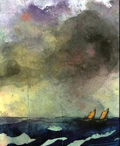 Emil Nolde, Meer mit zwei Segelbooten (Sea with Two Sailboats) on ArtStack #emil-nolde #art