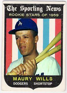 1959 Topps Maury Wills Best Baseball Player, Better Baseball, Dodgers Fan, Dodgers Baseball, Baseball Photos, Baseball Cards, Maury Wills, Mlb, Dodger Blue