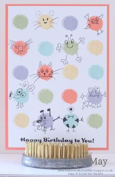 Eye-catching Ikat cartoon doodles with Stampin' Up! Photopolymer