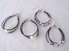 sencillos pendientes de cuero y perla