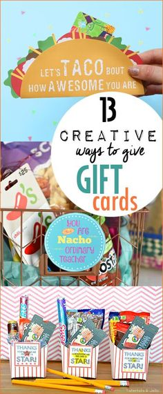 Creative Ways to Give Gift Cards. Disguise your gift cards in fun ways. Gift ideas for a birthday, graduation, wedding, teacher appreciation or special occasions.