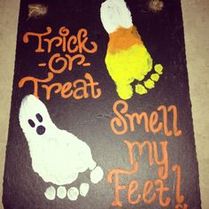 Footprint Craft for Halloween- Trick or Treat, Smell my Feet- great idea for bab. - Footprint Craft for Halloween- Trick or Treat, Smell my Feet- great idea for babies and toddlers! Diy Halloween, Premier Halloween, Looks Halloween, Theme Halloween, Halloween Crafts For Kids, Halloween Trick Or Treat, Holidays Halloween, Holiday Crafts, Thanksgiving Crafts