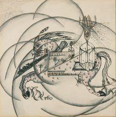 Ella Bergmann-Michel (1896-1971), Flucht [Flight], 1921. Pencil, ink and coloured pencil on drawing paper, sheet: 29 x 28.5 cm.