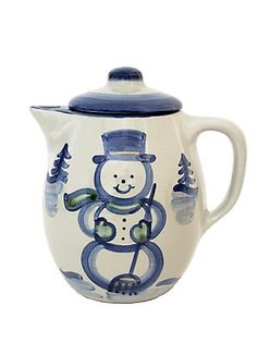 hand painted stoneware. snowman coffee pot.