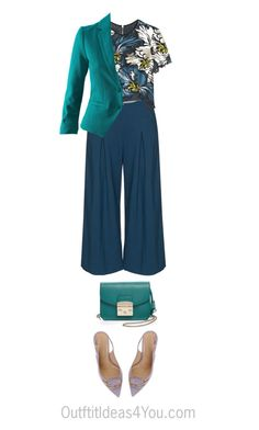 """""""How To Wear Teal For A Shaded Deep Winter"""" by jen-thoden ❤ liked on Polyvore featuring Manon Baptiste, Erdem, H&M, Sergio Rossi and Furla"""