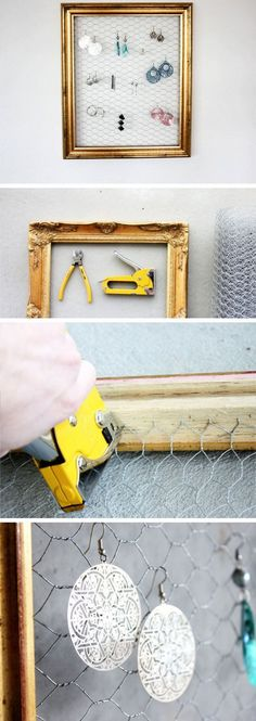 DIY Frame Earring Holder | Easy Storage Ideas for Bedrooms Closets | DIY Organization Ideas for Bedrooms Teens