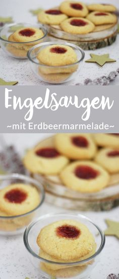 Recipe: angel eyes - delicious cookies with jam - the .- Rezept: Engelsaugen – Leckere Plätzchen mit Marmelade – The inspiring life Christmas cookies: Delicious angel eyes, also called hussar donuts, filled with delicious strawberry jam. Healthy Dessert Recipes, Smoothie Recipes, Cookie Recipes, Snack Recipes, Snacks, Desserts, Jam Cookies, Cookies Et Biscuits, Yummy Cookies