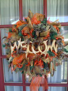 Camo Hunting and Fishing Welcome Deco Mesh Door Wreath on Etsy, $89.00