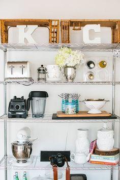 Kathleen Barnes' Orange County Home Tour // styling kitchen shelves Home Organization, Home Goods, Kitchen Display, Home, Steel Shelving, Trendy Kitchen, New Kitchen, Home Kitchens, Shelving