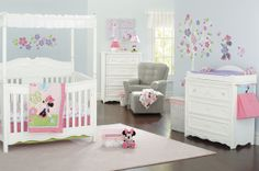 @Disney Baby Minnie Mouse Butterfly Charm crib bedding inspired this designed-to-delight nursery. Blooms, birds & butterflies sprinkled throughout the room complement the enchanting white furniture collection by Delta for your baby girl's first room. #BRUHappyPlaces