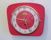 French 1950s Bright Red Atomic Age B.C. PARIS -  Formica Wall Clock - Red Formica Vintage Clock - Good Working Condition