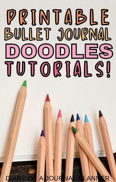 The ultimate bullet journal doodle tutorial bundle with over 99 printable doodle drawing guide! #bulletjournaldoodles #doodles