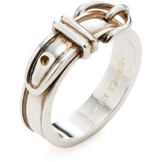 Hermès Hermès Women's Silver Buckle Ring - Silver - Size 5 ($450) ❤ liked on Polyvore featuring jewelry, rings, silver, wide rings, silver jewellery, buckle jewelry, mint green jewelry and hermes ring