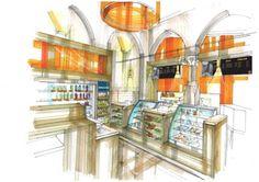 Café Sol : Image 1 Drawing Interior, Interior Rendering, Interior Sketch, Interior Architecture, Interior And Exterior, Interior Design, Presentation Techniques, Technical Drawings, Retail Store Design