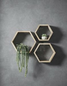 Bumblebee shelf set Shelf set of three different sized hexagons. These bumblebee shelves is hexagon shaped and is made from 22 mm Geometric Shelves, Honeycomb Shelves, Hexagon Shelves, Oak Shelves, Wooden Shelves, Floating Shelves, Unique Wall Shelves, Hexagon Box, Hexagon Shape