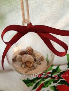 Seashell-filled Acrylic Ornaments.  Avoid having the beach under your tree!  Buy online at www.justdandybeautique.com!