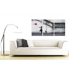 Treat yourself and see how our set of 3 Banksy canvas pictures of Girl with a Red Balloon can balance your decor and accessories - Free Template Provided Banksy Canvas Prints, Canvas Wall Art, Red Balloon, Balloons, Canvas Designs, Canvas Pictures, Photo Canvas, Love Seat, Stretched Canvas