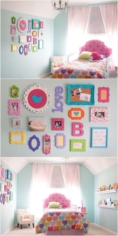 Multi-colored picture frames & wall decor for Gigi's room! PERFECT! Cute Girls Bedrooms, Little Girl Beds, Soft Colors, Girl Room, Organizing Ideas, Toddler Bed, Bedroom Decor, Gallery Wall, Calming Colors