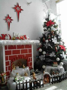 Fantástico Do you need any christmas or website post virulento in social media. i can do it fr. Do you need any christmas or website pos. Christmas Tree Village, Christmas Nativity Scene, Simple Christmas, Christmas Home, Diy Christmas Fireplace, Cardboard Fireplace, Easy Christmas Decorations, Christmas Crafts, Christmas Ornaments
