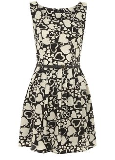 Fit and Flare Heart Print Dress @?? ? Direct #pintowin