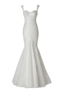Lagara white wedding dress from Pronovias Barcelona. Beautiful white navette sequins and beadings on body. Adorable illusion back with sequin pattern.