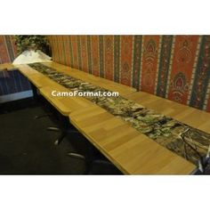 """Where there's a wedding, there are reception tables, lots of them in fact!Where there's a club, there's a banquet (and tables.)Where there's a need or a cause, there's a fund-raiser (again.)Camouflage table linen will make an impression on your guests or contributors!13"""" x 108"""" table sashes are versatile and can be used as a center runner on many table sizes.Made in the USA."""