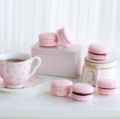 French Macarons with tea.