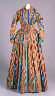 Brown and blue stripped/printed wool dress, ca. 1845.