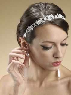 Wedding Accessories | Jewelry | Photo Booth Frames | FavorsSwarovski Crystal Bridal Headband with Ribbon [3324HB] - $80.00#.VFZYKGd0zj0