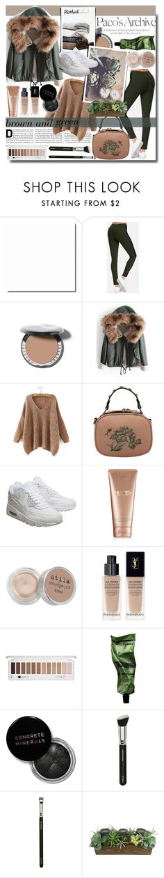 """""""Brown and Green Outfit / ROMWE"""" by fashiondiary5 ❤ liked on Polyvore featuring Industrie, NIKE, La Mer, Stila, Yves Saint Laurent, Forever 21, Aesop, Concrete Minerals, ZOEVA and SONOMA Goods for Life"""