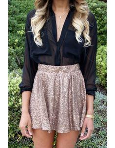 Payetli Çan Etek - Sequin embelished mini a-line skirt