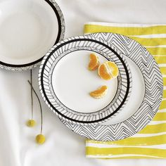 Glazed Porcelain Chevron Sketch Dinnerware by West Elm