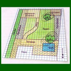 Gartenplan Zeichnen, maßstabgerechten Plan des Gartens zeichnen.  Den Gartenplan zeichnen maßstabgerecht auf Millimeterpapier, mit einem Maßstab von 1:100, 1 cm auf dem Papier entspricht 1 m im Garten  http://www.gartenschlumpf.de/gartenplan-zeichnen/