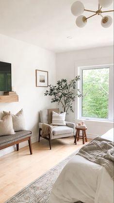 Transitional bedroom decor | House & Roses Grey Accent Chair, Grey Chair, Transitional Bedroom, Grey Fabric, Home Decor Styles, Bedroom Decor, Interior Design, Cozy, Reading Nook