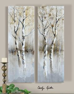 Rustic Birch Tree Hand Painted Panels Art