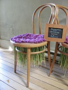 Display for selling flowers using old bentwood chair