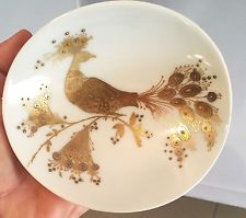 ROSENTHAL STUDIO LINE GERMANY BJORN WINBLAD GOLD AND WHITE PEACOCK DISH