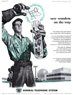 """The first ad is collected HERE , with many many more modernist ads of the 1950s/1960s. Union Carbide did a lot of these Atom Symbol ads: And then there's """" Psychiana """", the odd religious cult from Idaho. I can't even. no atom/atomic/energy tag yet?"""