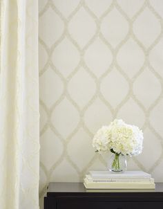 Fabricut's Darling in color Sand from the Color Portfolio - Opal collection. #wallpaper #ogee