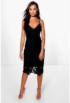 Boutique Fi Crochet Lace Strappy Midi Dress