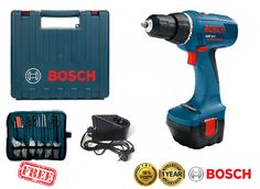 BOSCH GSR 12-2 Professional 12V 1.5Ah 2-speed Cordless Drill Driver Kit Bits New #Bosch